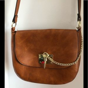 Madden Girl Crossbody Brown Tan Bag with Gold